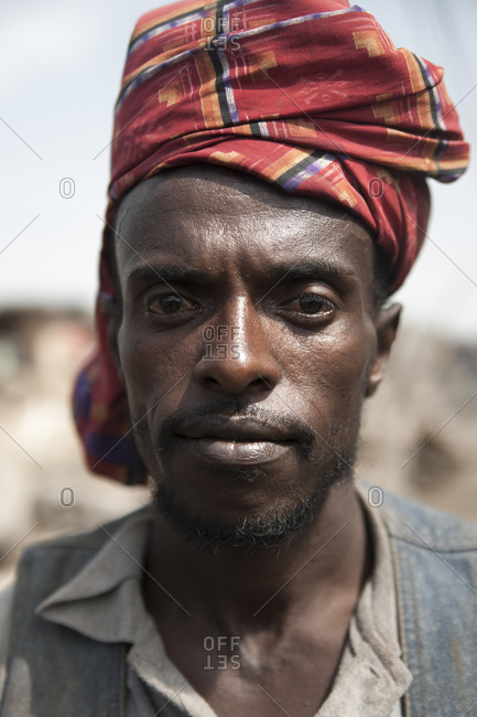 Asaita, Ethiopia - September 6, 2011: An Afar man wearing a head scarf