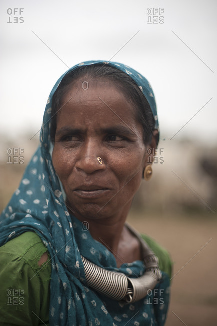 Gujarat, India - August 31, 2012: A Kutchi woman in traditional dress