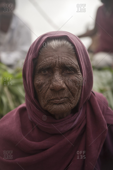 Dwarka, India - August 24, 2012: An elderly woman in the pilgrim town of Dwarka