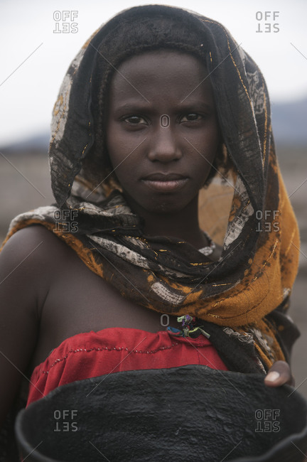 Danakil, Ethiopia - August 27, 2011: An Afar girl posing
