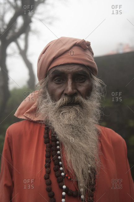 Junagadh, Gujarat, India - August 27, 2012: A Hindu pilgrim on the path to Girnar
