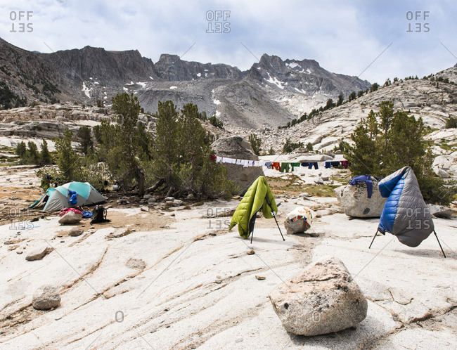 Laundry day, drying gear and cloth diapers after days of rain in the High Sierra