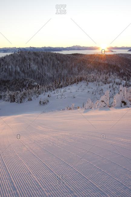 Groomed slopes at sunrise in Whitefish, Montana