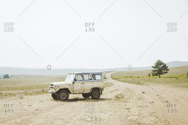 Siberia, Russia - August, 2013: Empty off-road vehicle