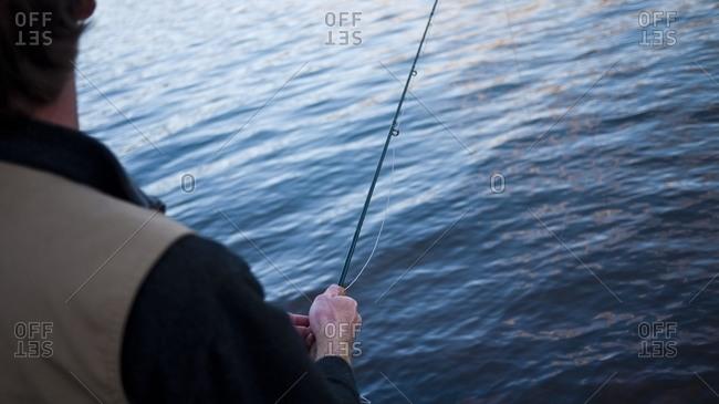 A man fly fishing near Durango, Colorado