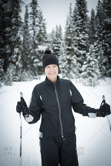 Portrait of a cross country skier in Kananaskis, Alberta