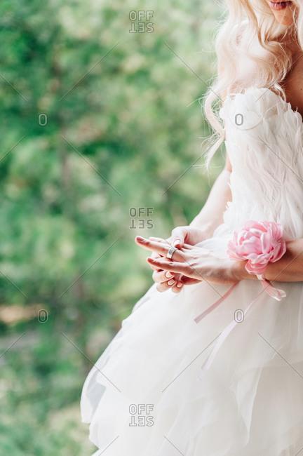 Bride admiring her wedding ring