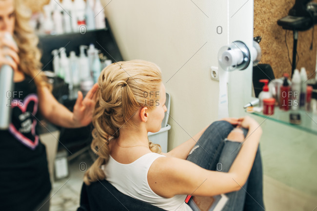 Bride getting her hair done at a salon