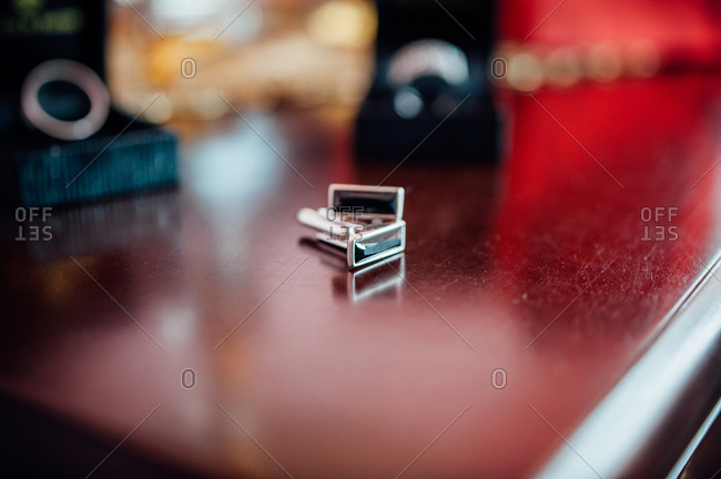 Close up of cufflinks on a table