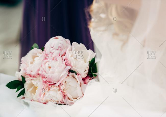 Wedding bouquet of pink peonies