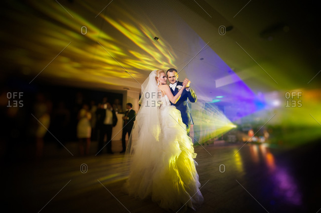 Newlyweds first dance at their wedding reception