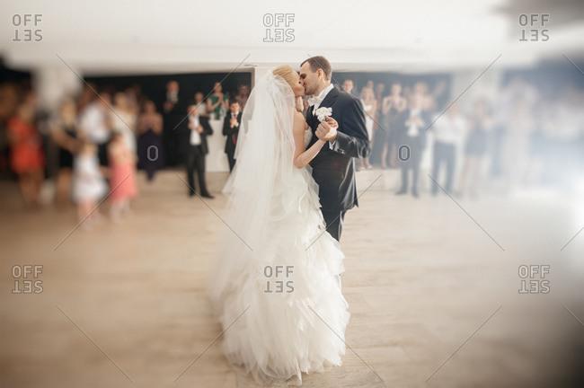 Newlyweds first dance at their wedding reception