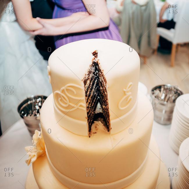 Close up of tiered wedding cake