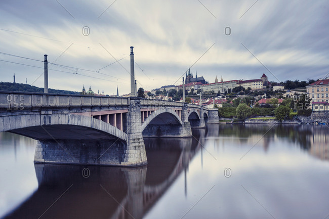 Bridge and prague castle in the background