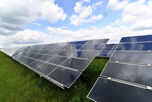 Photoelectric cells of solar power plant