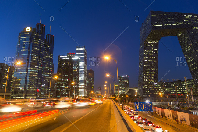 Central Business District and the CCTV building at dusk in Beijing, China