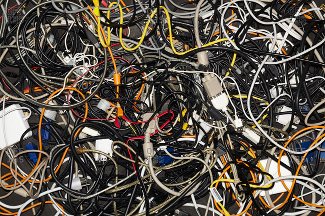 Close up of tangled cables and wires