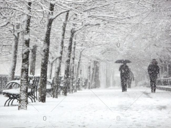 People walking in snowfall