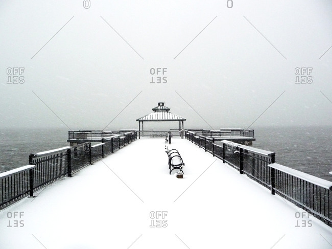 View of a snow-covered pier