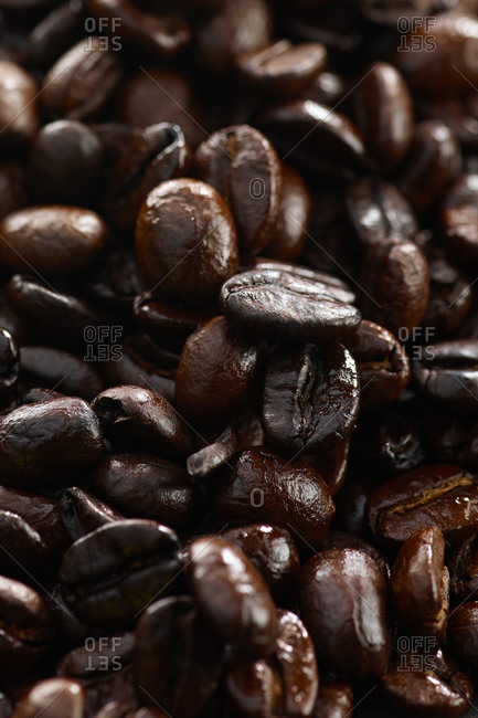 Macro view of coffee beans