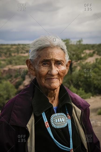 Canyon de Chelly, Arizona, United States - May 23, 2009: Portrait of elderly Navajo woman
