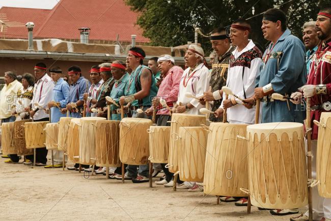 Ohkay Owingeh Pueblo, New Mexico, United States - June 23, 2009: Tewa drummers