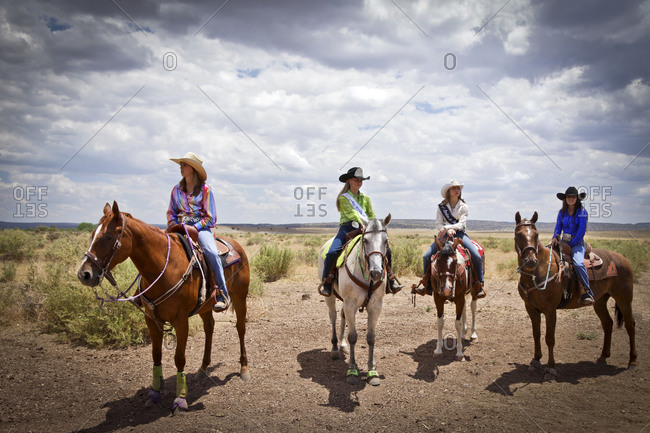 Galisteo, New Mexico, United States - July 10, 2011: Rodeo with cowgirls
