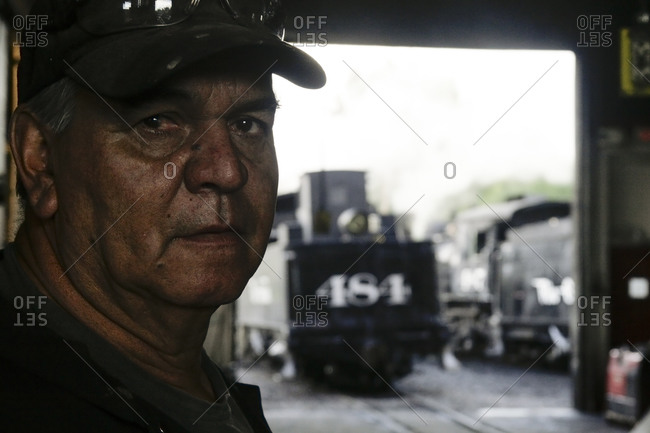 Chama, New Mexico, USA. - July 25, 2009: Portrait of locomotive engineer  at the Chama train station