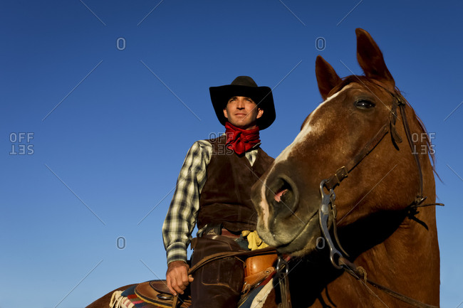 Cowboy sitting on a horse in Santa Fe, New Mexico, United States