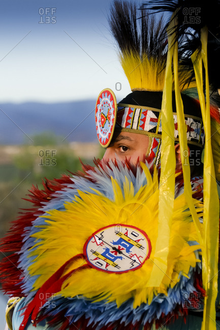 Native American man in traditional ceremonial headdress in Santa Fe, New Mexico, United States