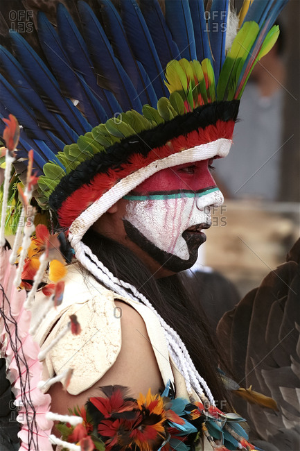 Ohkay Owingeh Pueblo, New Mexico, United States - June 24, 2008: Indigenous man at the Summer Feast Day