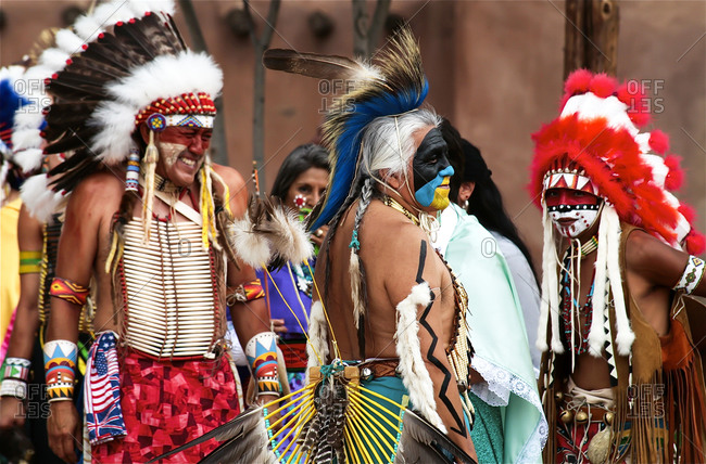 Ohkay Owingeh Pueblo, New Mexico, United States - June 24, 2008: Indigenous people at the Summer Feast Day