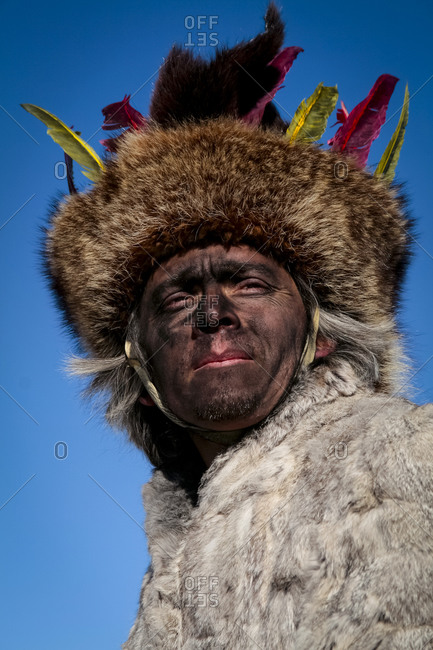 Alcalde, New Mexico, United States - December 27, 2008: Man wearing a Native American costume