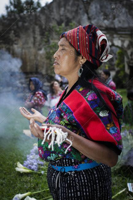 Antigua, Guatemala - April 19, 2011: Mayan cleansing ceremony