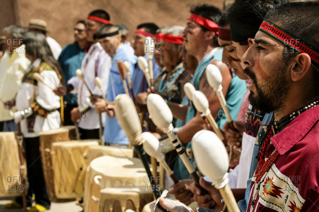 Ohkay Owingeh Pueblo, New Mexico - June 23, 2009: Tewa drummers
