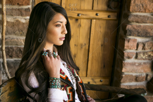 Young woman wearing Native American jewelry