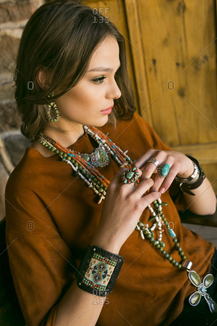 Woman wearing Native American jewelry