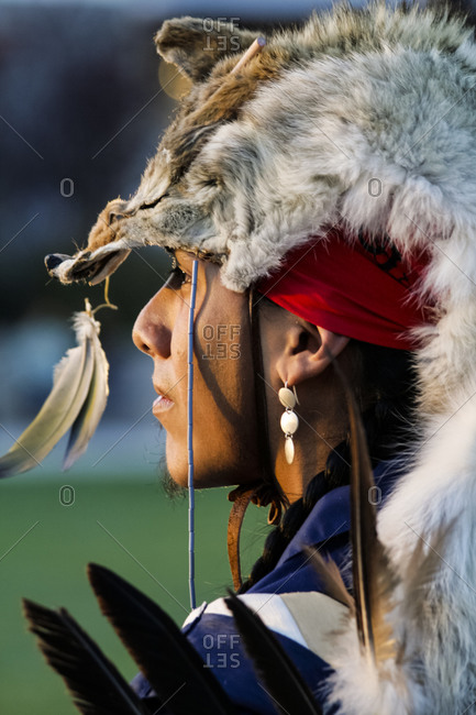 Santa Fe, New Mexico - May 9, 2009: Native American man of the Apache tribe wearing winter ceremonial coyote headdress