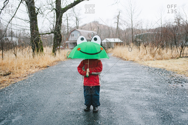 Child standing under a frog umbrella