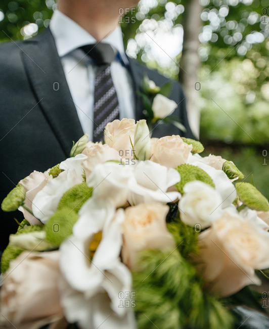 Close up of a wedding bouquet with roses