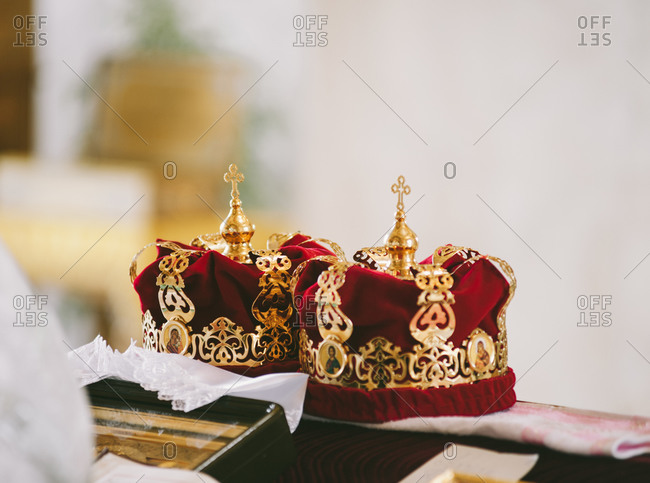 Close up of wedding crowns at a traditional Orthodox wedding