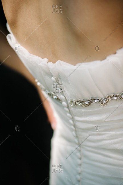 Back of an elegant wedding dress