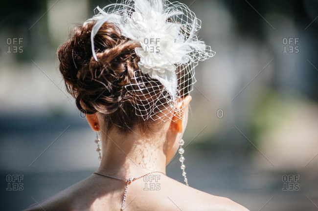 Floral clip in bride's hair