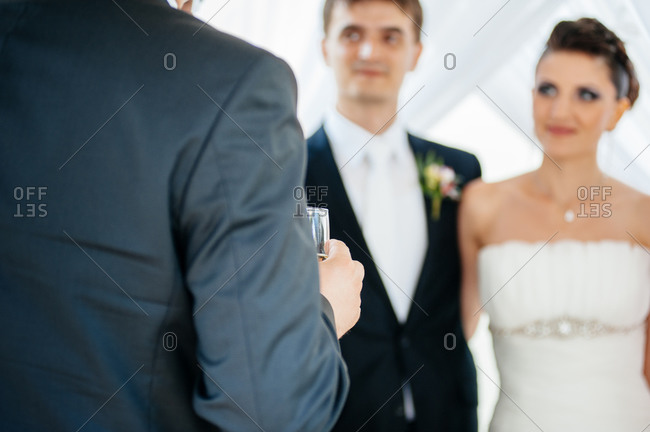 Newlywed couple at their wedding reception