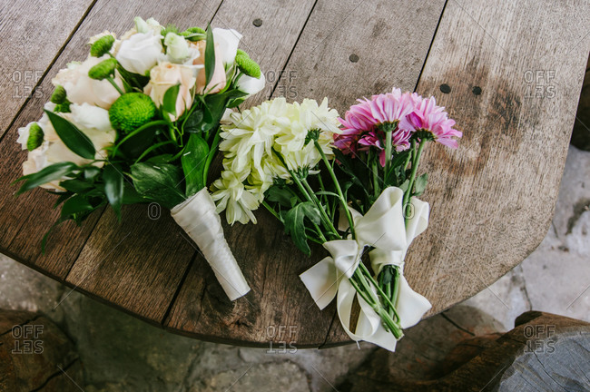 Wedding bouquets on a wooden table