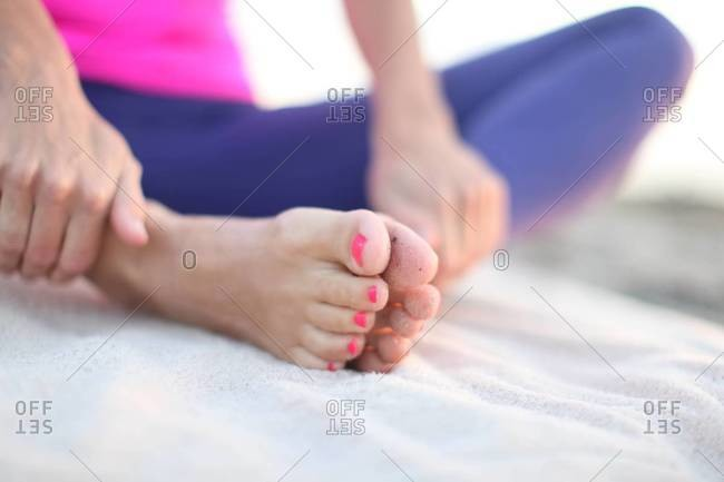 Woman in lotus-like position