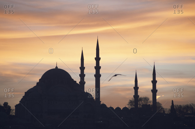 Silhouette of Suleymaniye Mosque, Istanbul, Turkey