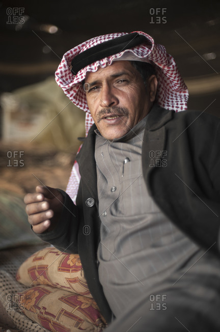 Bedouin man resting in a tent, Jordan