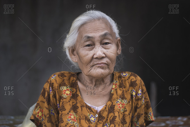 Portrait of an elderly Lao woman in Luang Prabang, Laos