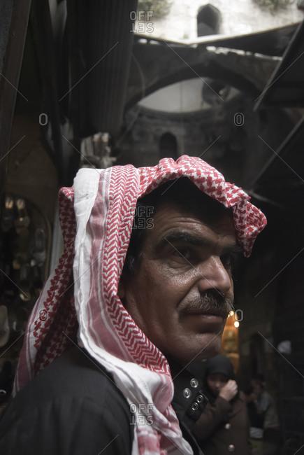 Aleppo, Syria - May 5, 2010: A Bedouin man Al-Madina Souq, Aleppo